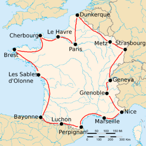 1919 Tour de France - Route of the 1919 Tour de France Followed counterclockwise, starting in Paris