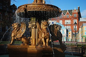 Winged lion - Image: Town Hall Square Leicester fountain detail