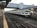 Train for Kagoshima-Chuo Station at Miyakonojo Station.jpg