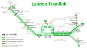 Croydon Tramlink Map Tramlink   Wikipedia