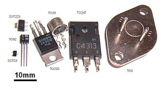 Small-outline transistor - Size comparison of transistor packages. Two surface-mount packages, SOT23 and SOT223, are shown next to through-hole packages
