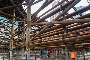 Salesforce Transit Center - Construction of the center, seen from below in 2013