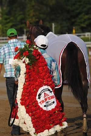 Travers Stakes - A blanket of flowers is presented to the winner