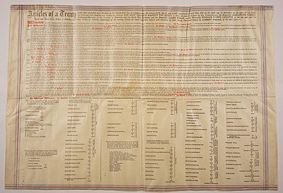A large sheet of parchment paper containing the terms of Treaty Six.