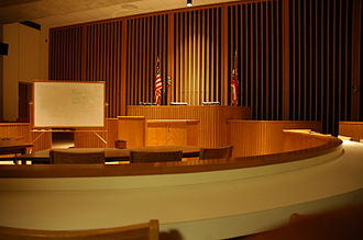 University of Cincinnati College of Law - The College's trial courtroom, where Cincinnati-area state and federal judges conduct proceedings in real cases several times each year.