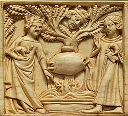 Tristan et Iseut à la fontaine