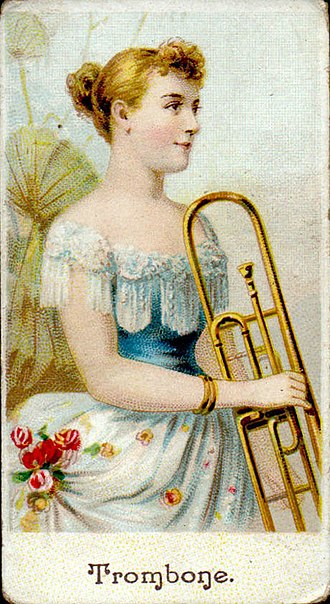 "American Tobacco Company - ""Trombone"", cigarette card by American Tobacco Co., 1895"