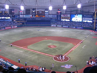 Tropicana Field shown from the upper deck during the first game of the 2010 Tampa Bay Rays season Tropicana Field Playing Field Opening Day 2010.JPG