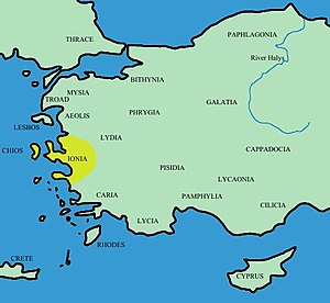 Location of Ionia within Anatolia