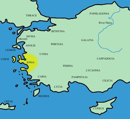 Ionia, source of early Greek philosophy, in western Asia Minor Turkey ancient region map ionia.JPG