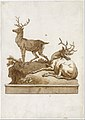 Two Stags, One Standing and One Lying, on a Grassy Knoll (with a Base) MET DT3239.jpg