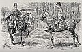 Two horsemen meeting on a turf. Wood engraving by A. C. Corb Wellcome V0021929.jpg