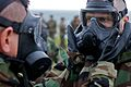 U.S. Marines, of III Marine Expeditionary Force, participate in chemical, biological, radiological and nuclear (CBRN) training where Marines conduct a series of tests while wearing their protective gear before 111222-M-LY681-019.jpg