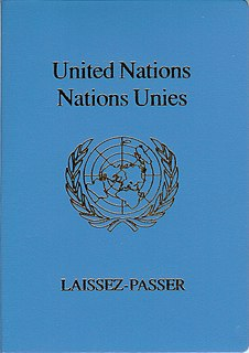 travel document issued by the United Nations