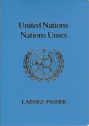 United Nations laissez-passer - The front cover of a blue machine-readable United Nations laissez-passer.
