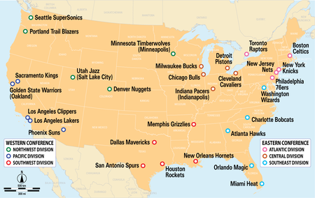 Teams, divisions and conferences of the NBA
