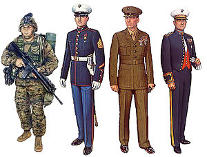 Uniforms of the United States Marine Corps - Left to right: Utility Uniform, Blue Dress Uniform, Service Uniform, and Evening Dress Uniform