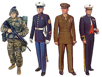 Uniforms of the United States Marine Corps - An illustration of U.S. Marines in various uniform setups. From left to right: A U.S. Marine in utility uniform with full combat load circa late 2003, a U.S. Marine in a Blue Dress Uniform, a U.S. Marine officer in a Service Uniform, and a U.S. Marine general in an Evening Dress Uniform