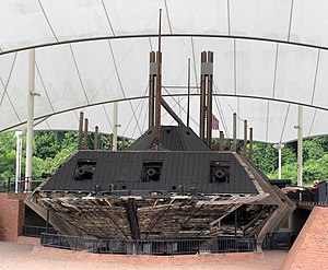 USS Cairo - USS Cairo in her final resting place at Vicksburg National Military Park. A wooden framework has been built to support what remains of the ship.