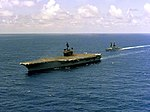 USS Constellation (CV-64) and USS Fife (DD-991) underway off the coast of California in 1981.jpeg