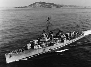 USS Hale (DD-642) steaming out of San Diego, circa in March 1951 (NH 107205).jpg