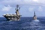 USS Intrepid (CVS-11) refuels USS Agerholm (DD-826) in July 1967.jpg