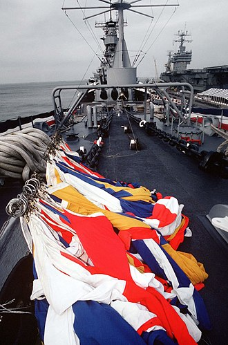 USS Iowa (BB-61) - A flag hoist lies on the deck near the bow of Iowa following the ship's decommissioning ceremony at Norfolk, Virginia