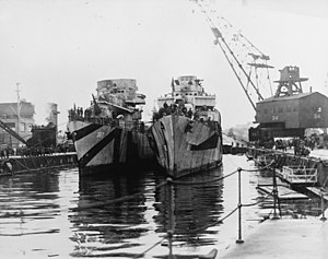 USS Lamson (DD-367) and USS Haraden (DD-585) at the Puget Sound Naval Shipyard, in early 1945 (80-G-601802)