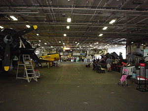 USS Midway Museum - Main exhibit area of the Midway on the hangar deck.