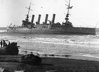 USS Milwaukee (C-21) - Image: USS Milwaukee (C 21) stranded