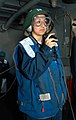 US Navy 030522-N-5786V-506 aman Abby Ramos from Robertsdale, Ala., uses a sound-powered telephone during an underway replenishment between the fast combat support ship USNS Arctic (T-AOE 8) and the Theodore Roosevelt.jpg