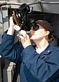 US Navy 040326-N-3986D-024 Quartermaster 3rd Class Mamie Anne Randall, of Paris, Ill., uses a sextant aboard USS George Washington (CVN 73).jpg