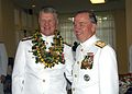 US Navy 050708-N-4995T-038 Commander, U.S. Pacific Fleet, Adm. Gary Roughead, left, stands with outgoing Commander, Adm. Walter F. Doran at a reception honoring Adm. Doran's Naval service.jpg