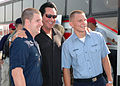US Navy 050921-N-9274T-008 Wayne Newton poses for a photograph with U.S. Navy Air Traffic Controller Airmen Dustin Lee, left, and Teron Graeber before a USO concert for military personnel supporting Hurricane Katrina relief eff.jpg