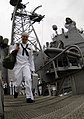 US Navy 090511-N-8907D-267 A Sailor assigned to the guided-missile cruiser USS Leyte Gulf (CG 55) walks down the brow after completing a seven-month deployment to the U.S. 6th Fleet area of responsibility.jpg