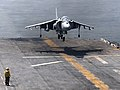 US Navy 090825-N-4649B-034 An AV-8B Harrier aircraft assigned to Marine Medium Tiltrotor Squadron (VMM) 263 (Reinforced) executes a vertical landing during routine flight operations.jpg