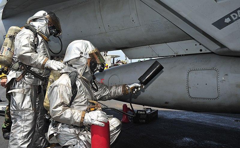 File:US Navy 110410-N-0074G-164 Sailors fight a simulated fire of an aircraft after an emergency landing aboard USS Enterprise (CVN 65).jpg