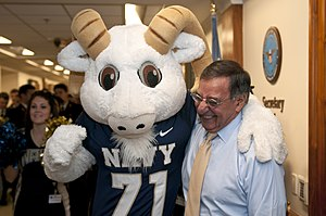 US Navy 111209-N-PM781-010 Secretary of Defense (SECDEF) Leon Panetta is greeted by Bill the Goat, the U.S. Naval Academy mascot, during a pep-rall.jpg