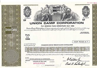 "Union Camp Corporation - Union Camp Corporation - A Specimen ""Sinking Fund"" Bond Certificate c.1971"