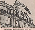 Union Jack and Nazi flags, together at County Hotel, Nottingham, England - 1936-10.jpg