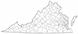 Burke's Garden, Virginia - Image: VA Map doton Tazewell