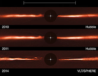 Debris disk - Image: VLT and Hubble images of the disc around AU Microscopii