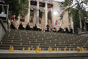 Tskhinvali - 21 August 2008. Valery Gergiev with Mariinsky Theatre opera in Tskhinvali.