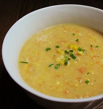 Corn chowder - Corn chowder topped with chives