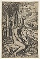 Venus removing a thorn from her left foot while seated on a cloth beside trees and foliage, a hare eating grass before her MET DP832643.jpg