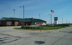 Vermilion Regional Airport - Image: Vermilion County Airport terminal and tower