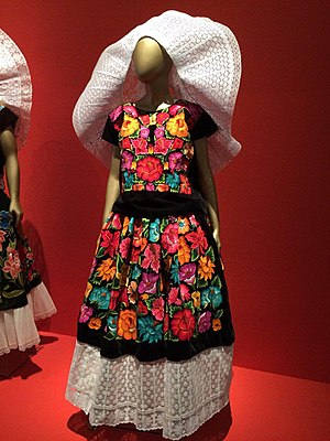 Textiles of Oaxaca - The Traje de Tehuana, a contemporary indigenous dress in Oaxaca displaying the variation of color and textiles.