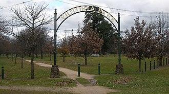 Newington, Victoria - Entrance to Victoria Park at Sturt Street