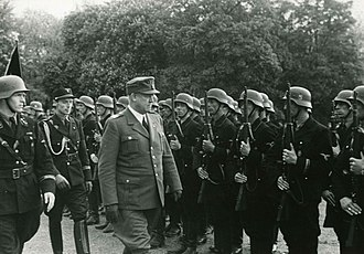Germanic SS - Vidkun Quisling inspects the Germanske SS Norge on the Palace Square in Oslo
