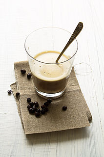 Egg coffee Vietnamese drink which is traditionally prepared with egg yolks, sugar, condensed milk and robusta coffee